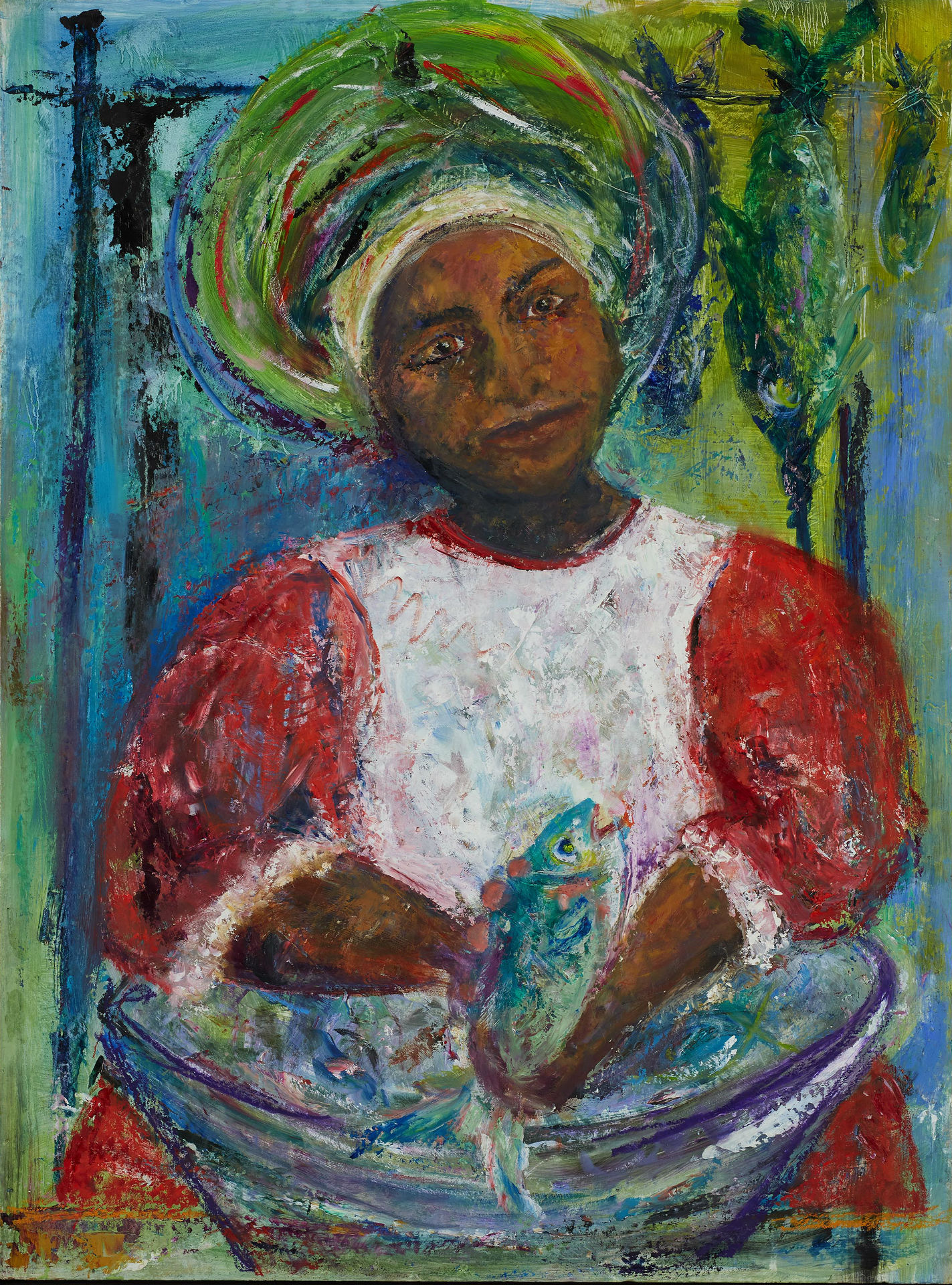 The Fishwife Martinique Oil on board framed w76 x h102cm 2017